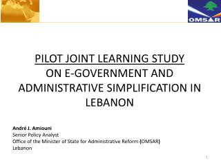PILOT JOINT LEARNING STUDY  ON E-GOVERNMENT AND ADMINISTRATIVE SIMPLIFICATION IN LEBANON