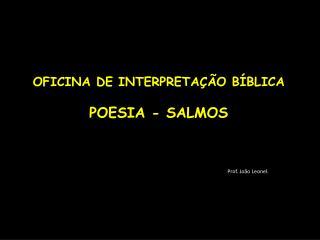 OFICINA DE INTERPRETAÇÃO BÍBLICA POESIA - SALMOS