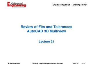 Review of Fits and Tolerances AutoCAD 3D Multiview