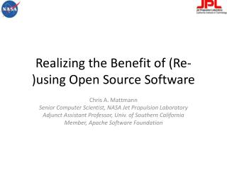Realizing the Benefit of (Re-)using Open Source Software