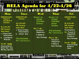 RELA Agenda for 4/22-4/26