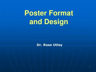 Poster Format and Design