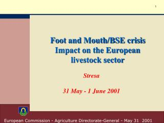Foot and Mouth/BSE crisis Impact on the European livestock sector