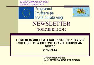 NEWSLETTER NOIEMBRIE 2012
