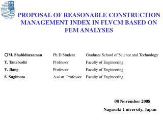 PROPOSAL OF REASONABLE CONSTRUCTION MANAGEMENT INDEX IN FLVCM BASED ON FEM ANALYSES