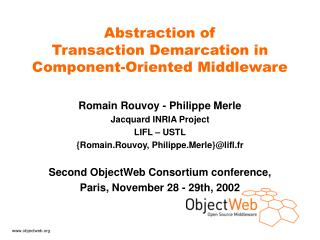 Abstraction of  Transaction Demarcation in Component-Oriented Middleware