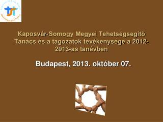 Kaposvár-Somogy Megyei Tehetségsegítő Tanács és a tagozatok tevékenysége a 2012-2013-as tanévben