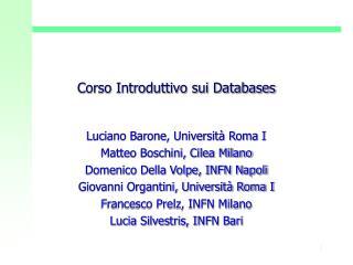 Corso Introduttivo sui Databases