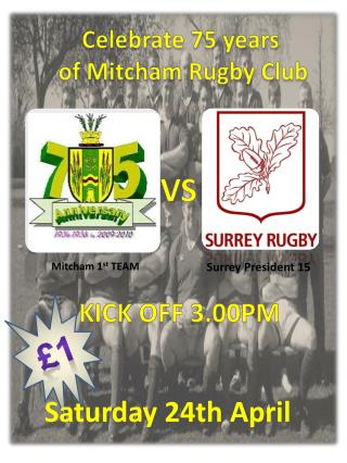 Celebrate  75  years  of Mitcham Rugby Club