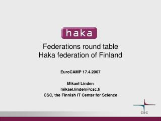 Federations round table Haka federation of Finland