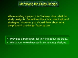 Identifying the Study Design