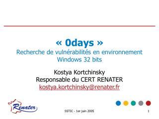 «0days» Recherche de vulnérabilités en environnement Windows 32 bits