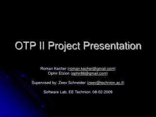 OTP II Project Presentation