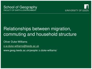 Relationships between migration, commuting and household structure