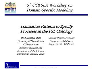 Translation Patterns to Specify  Processes in the PSL Ontology