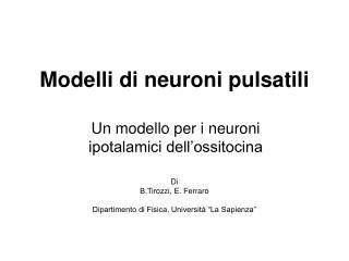 Modelli di neuroni pulsatili