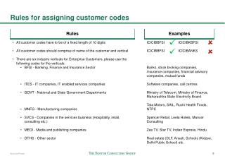 Rules for assigning customer codes