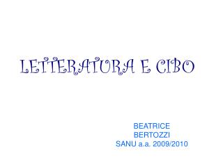 BEATRICE  BERTOZZI SANU a.a. 2009/2010