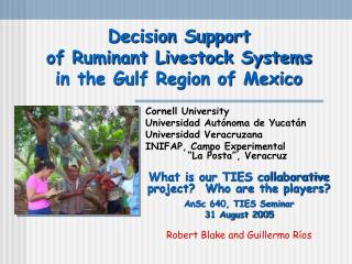 Decision Support  of Ruminant Livestock Systems  in the Gulf Region of Mexico