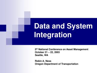 Data and System Integration