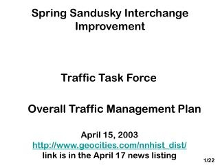 Spring Sandusky Interchange Improvement