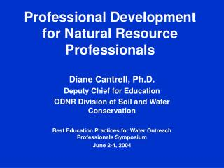 Professional Development for Natural Resource Professionals