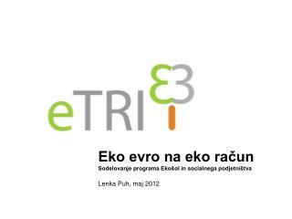 Eko evro na eko račun Sodelovanje programa Ekošol in socialnega podjetništva  Lenka Puh, maj 2012