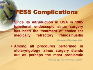 FESS Complications