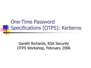 One-Time Password Specifications (OTPS): Kerberos
