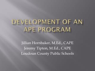 Development of an APE  P rogram