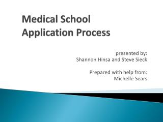Medical School Application  Process