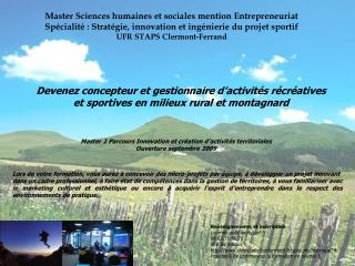 Master Sciences humaines et sociales mention Entrepreneuriat