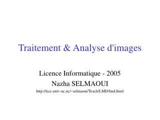 Traitement & Analyse d'images