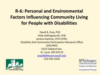 R-6: Personal and Environmental Factors Influencing Community Living for People with Disabilities