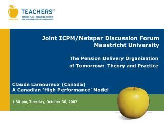 Joint ICPM/Netspar Discussion Forum Maastricht University