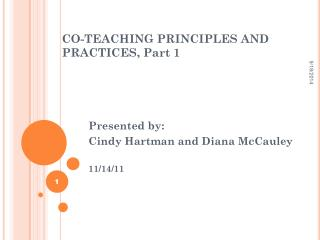 CO-TEACHING PRINCIPLES AND PRACTICES, Part 1