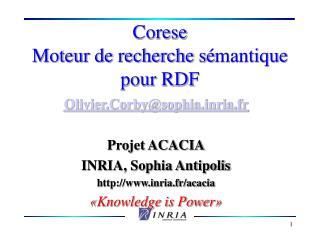 Corese Moteur de recherche s mantique pour RDF