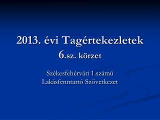 2013. évi Tagértekezletek 6 .sz. körzet
