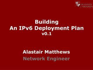 Building An IPv6 Deployment Plan v0.1