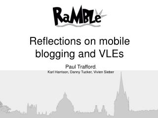 Reflections on mobile blogging and VLEs