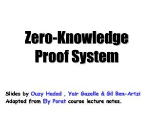 Zero-Knowledge Proof System