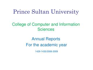 Prince Sultan University College of Computer and Information Sciences