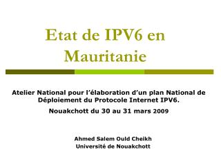 Etat de IPV6 en Mauritanie