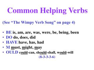 Common Helping Verbs