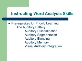 Instructing Word Analysis Skills
