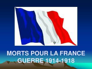 MORTS POUR LA FRANCE GUERRE 1914-1918