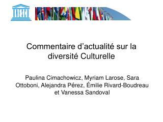 Commentaire d'actualité sur la diversité Culturelle