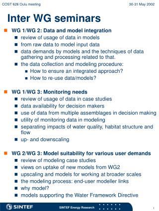 Inter WG seminars