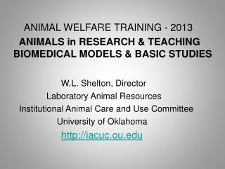 ANIMAL WELFARE TRAINING - 2013