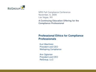 Professional Ethics for Compliance Professionals